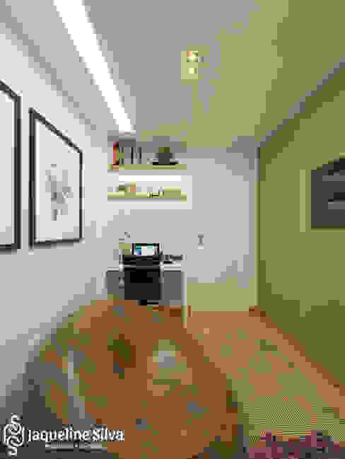 Espaço multiuso - Apartamento MS JAQUELINE SILVA ARQUITETURA E INTERIORES Escritórios modernos Castanho