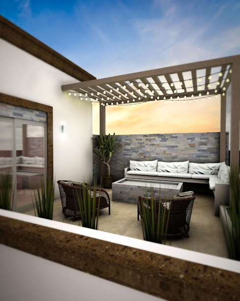 Terraza: Terrazas de estilo  por Osuna Arquitecto,