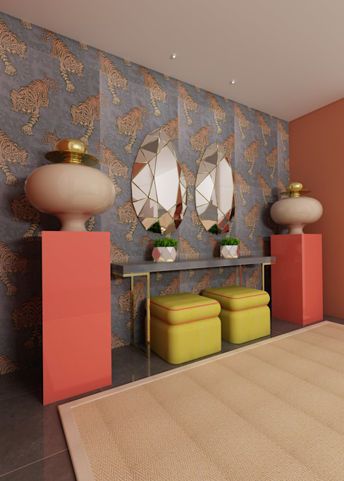 Angelourenzzo - Interior Design Tropical style corridor, hallway & stairs