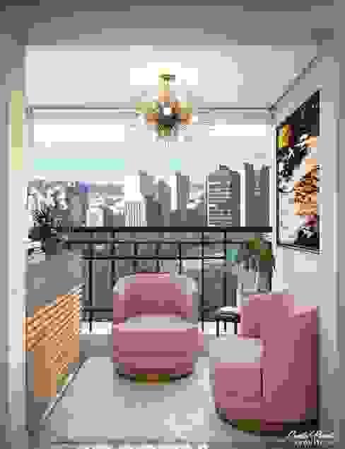 Estar Espaços comerciais modernos por Camila Pimenta   Arquitetura + Interiores Moderno Madeira Efeito de madeira