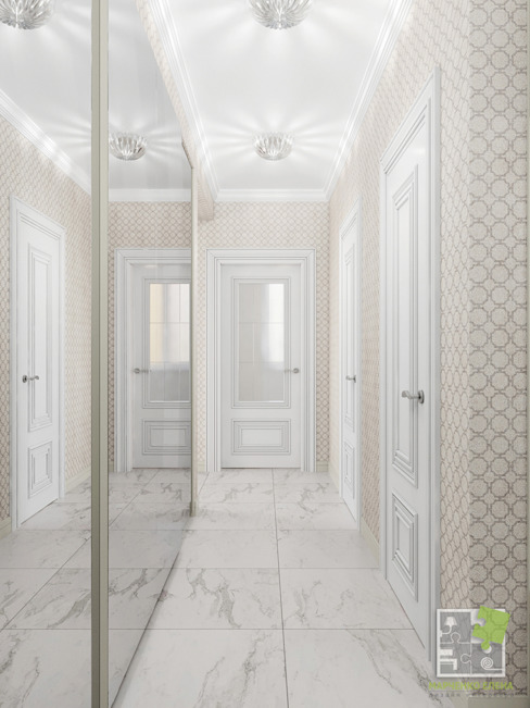Pasillos, vestíbulos y escaleras eclécticos de Елена Марченко (Киев) Ecléctico