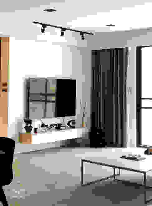 清晨的萊特-老屋翻新變身現代簡約居所 现代客厅設計點子、靈感 & 圖片 根據 酒窩設計 Dimple Interior Design 現代風 塑木複合材料