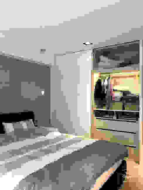 Moderne Schlafzimmer von 酒窩設計 Dimple Interior Design Modern Holz-Kunststoff-Verbund