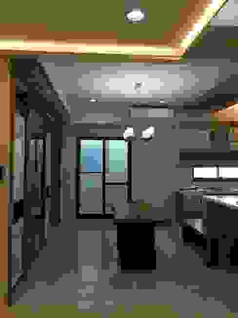 開放式廚房與餐廳 houseda Eclectic style dining room Solid Wood Wood effect