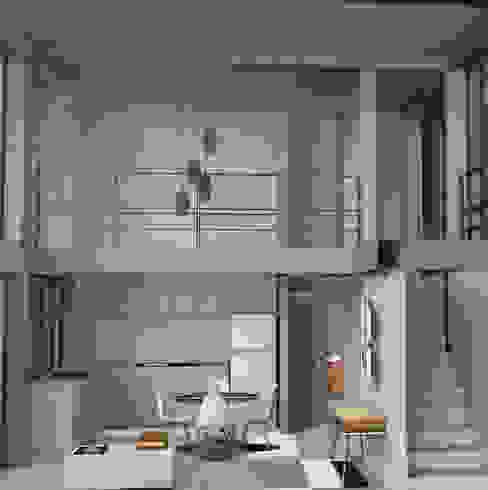 Sala en doble altura Designo Arquitectos Casas multifamiliares Concreto Blanco