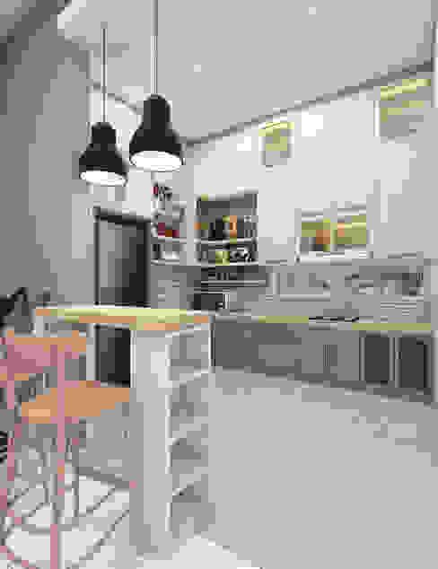 CASA.ID ARCHITECTS Вбудовані кухні Інженерне дерево Сірий