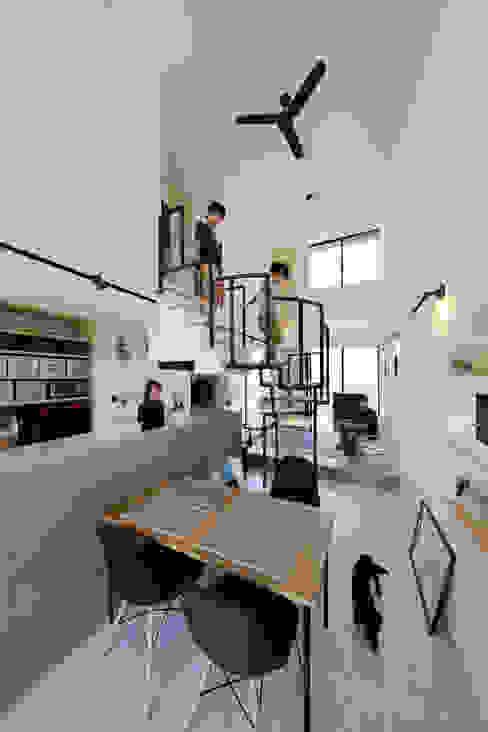 螺旋階段で吹き抜けを緩やかにエリア分け 株式会社建築工房DADA モダンデザインの リビング