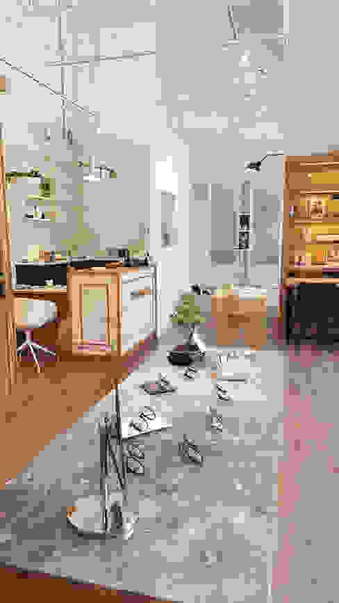 精緻挑選的大理紋石板的展示櫃 XY DESIGN - XY 設計 辦公空間與店舖 Wood effect