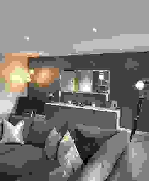 Casa Cinza super moderna AL Interiores Salas de estar minimalistas Madeira Cinza