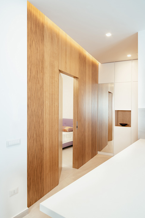 manuarino architettura design comunicazione Pasillos, vestíbulos y escaleras modernos Madera