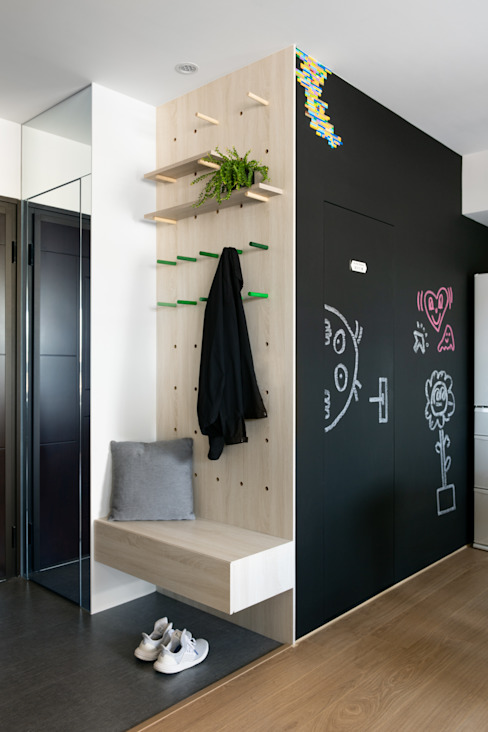 玄關 落塵區 邑田空間設計 隨意取材風玄關、階梯與走廊