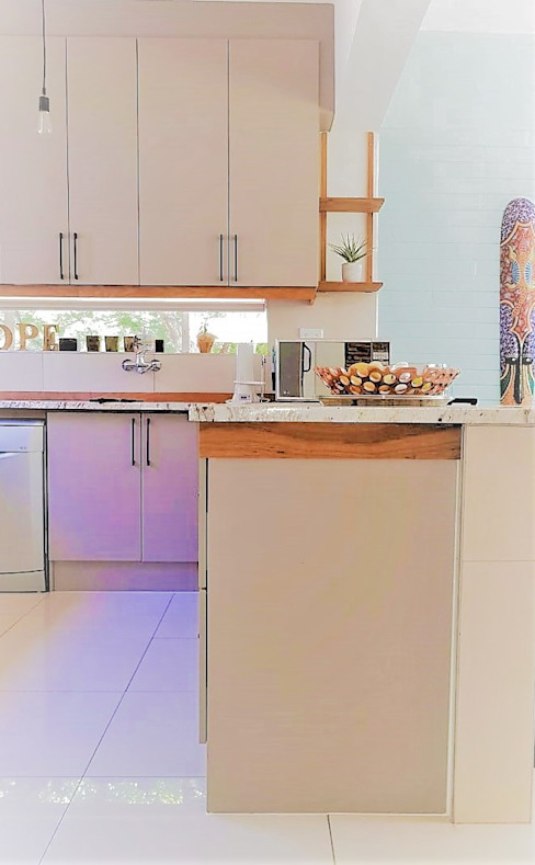Eclectic Kitchen With Striking Solid Teak Detail :  Built-in kitchens by Zingana Kitchens and Cabinetry , Modern
