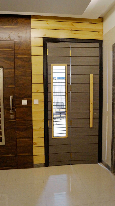 safety door : modern  by decormyplace,Modern Engineered Wood Transparent