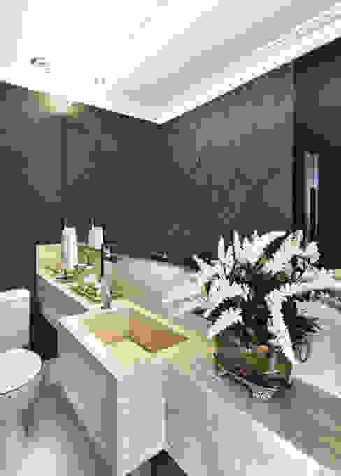 Lavabo TL arquitetura e interiores Banheiros clássicos Mármore Cinza