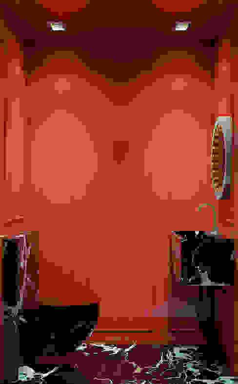 Pequeno, grande apartamento Estoril Inêz Fino Interiors, LDA Casas de banho ecléticas Mármore Vermelho