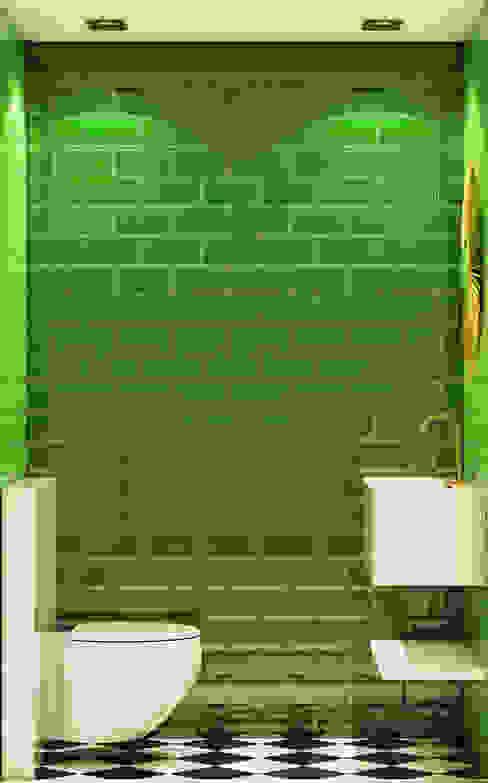 Pequeno, grande apartamento Estoril Inêz Fino Interiors, LDA Casas de banho ecléticas Cerâmica Verde