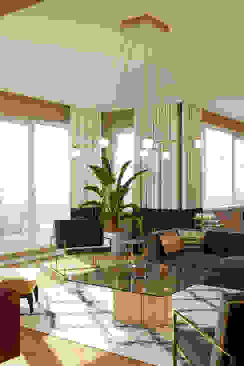 Salón después Isabel Gomez Interiors Salones de estilo ecléctico Ámbar/Dorado