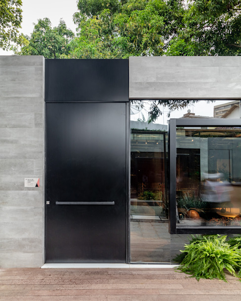 Sala da Imagem e do Som | Casa Cor PE 2018 | Detalhe Fachada por Arquitetura Sônia Beltrão & associados Moderno Alumínio/Zinco