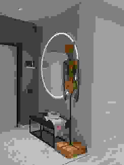 Прихожая с яркими акцентами DesignNika Коридор, прихожая и лестница в скандинавском стиле