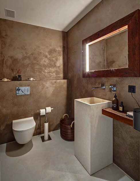Spiegel in Altholz mit indirekter Beleuchtung: modern  von RH-Design Innenausbau, Möbel und Küchenbau Aarau,Modern Holz Holznachbildung