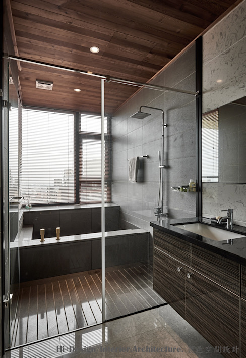 浴室 Hi+Design/Interior.Architecture. 寰邑空間設計 Eclectic style bathroom Granite Grey