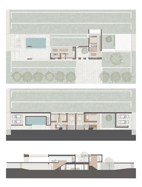Layout of the Villa Casas estilo moderno: ideas, arquitectura e imágenes de ALESSIO LO BELLO ARCHITETTO a Palermo Moderno