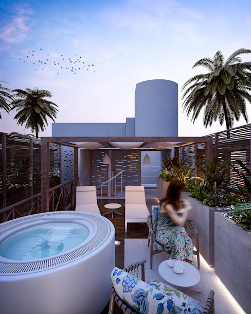 Cabañas VIP by PM Álvarez Bernés Arquitectura Balcones y terrazas modernos