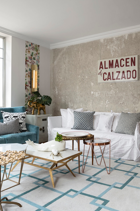 Diseño y decoración de un salón moderno en Madrid Salones de estilo moderno de Guille Garcia-Hoz, interiorismo y reformas en Madrid Moderno Metal