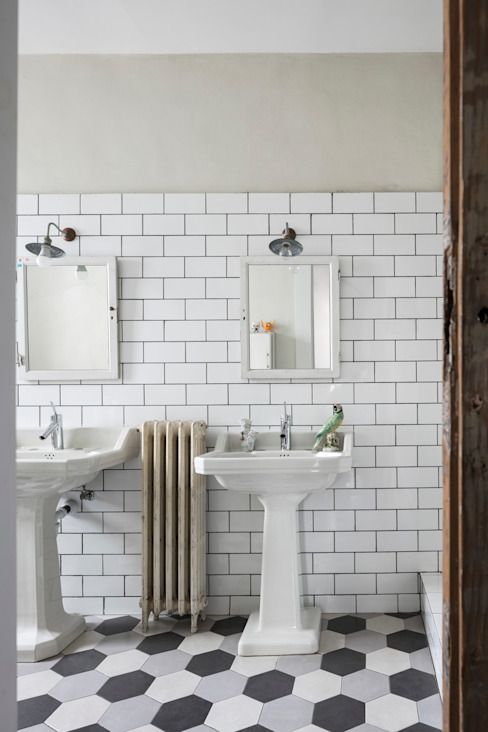 Guille Garcia-Hoz, interiorismo y reformas en Madrid 現代浴室設計點子、靈感&圖片 磁磚