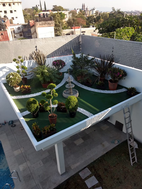 palapa y roof garden coprefa Jardines modernos