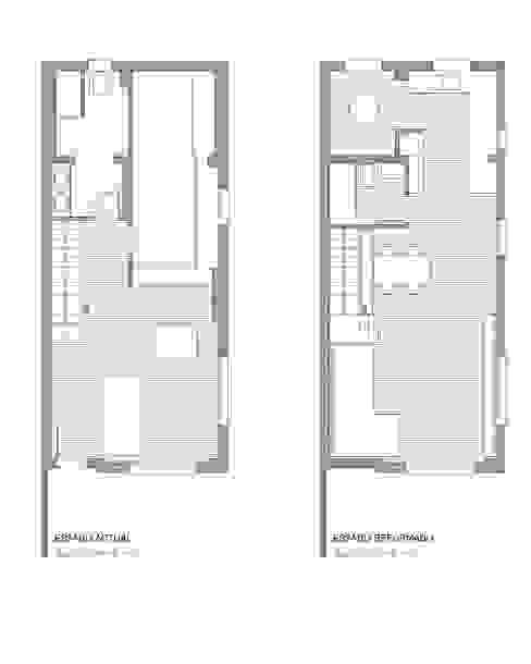 Plano del estado previo y reformado:  de estilo  de Estudio1403, COOP.V. Arquitectos en Valencia
