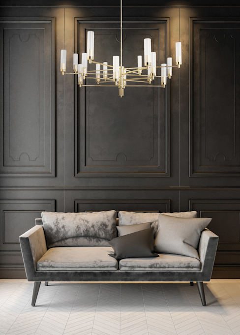 Contemporary Gold Brass Luxury Chandelier SETI 8 Arms Glass Lamp Shade Dormitorios infantiles modernos de homify Moderno Cobre/Bronce/Latón