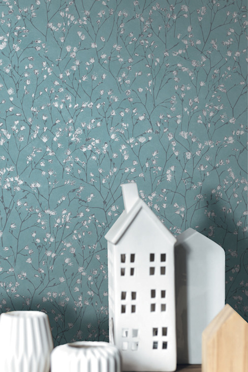TapetenStudio.de Country style walls & floors Blue