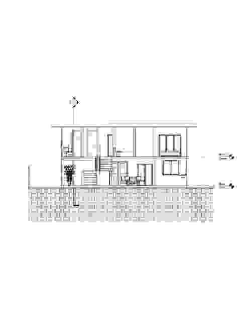Corte longitudinal Casas de estilo mediterráneo de Constructora Alonso Spa Mediterráneo