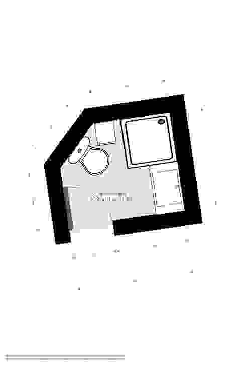 Plano reforma baño pequeño de Banium-Reformas del Hogar en Madrid Moderno