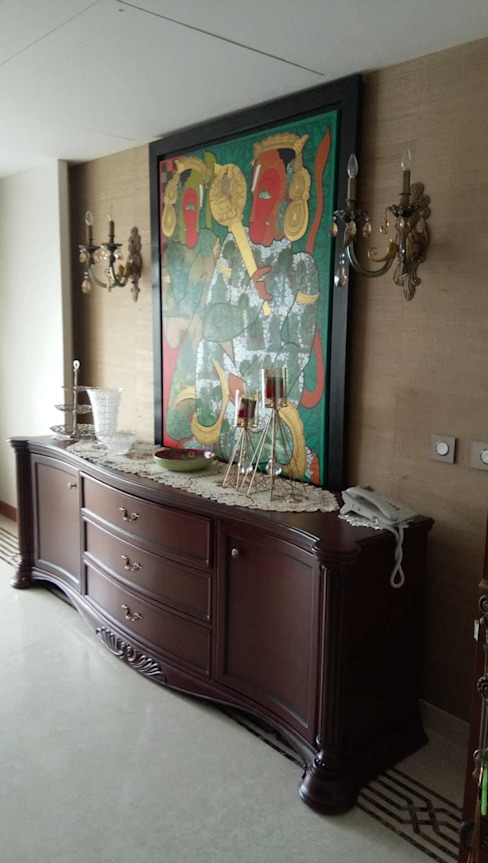 The Serving table at the dining area Liveup Homes Colonial style dining room Wood Brown