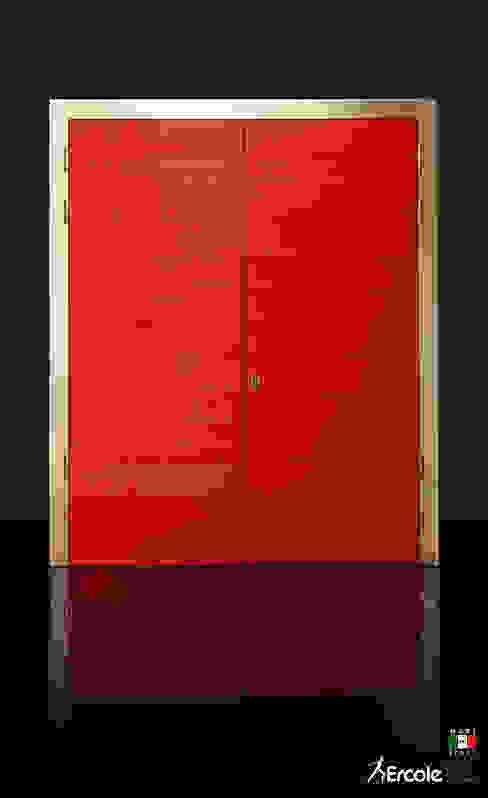 Porta a due battenti in legno, lato interno Ercole Srl Porte d'ingresso Legno Rosso