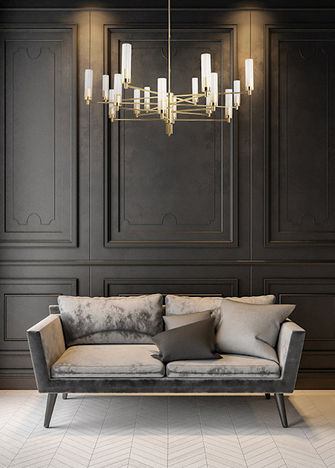 Contemporary Gold Brass Luxury Chandelier SETI 8 Arms Glass Lamp Shade Classic style living room by Luxury Chandelier Classic