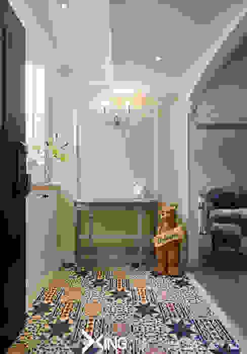 鄉村紀事 興躍設計 乡村风格的走廊,走廊和楼梯