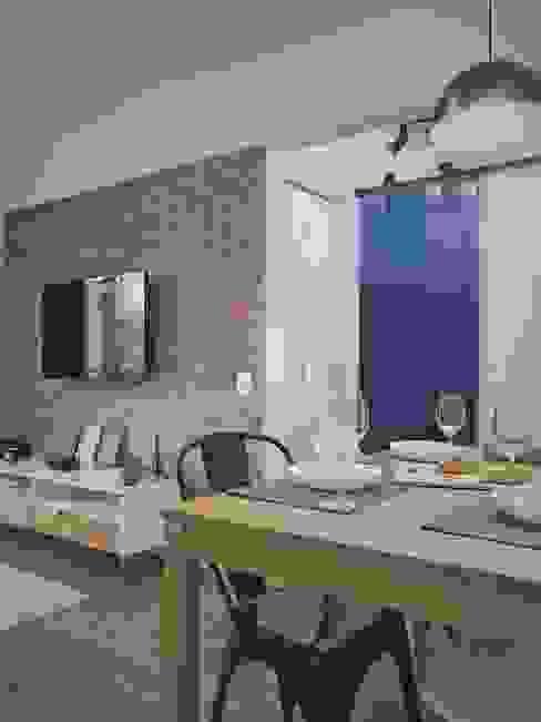 Sala de Jantar e Estar - #CantoDaTata Design em Todo Canto Salas de estar industriais Tijolo Azul