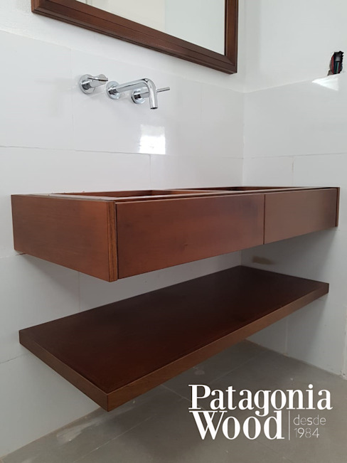 VANITORY FLOTANTE 2 CAJONES Y ESTANTE de Patagonia wood Moderno Madera maciza Multicolor