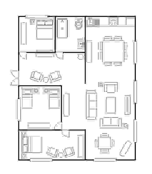 Medir espacios una regla de la decoración :  de estilo  por Muebles Dico,