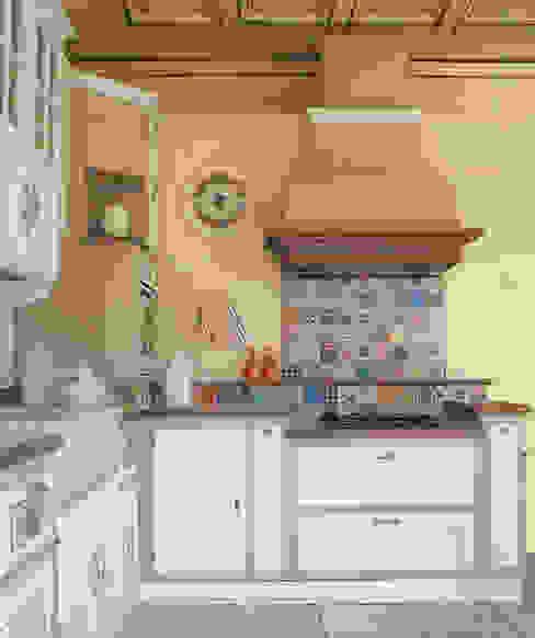 cappa in finta muratura su misura: Cucina attrezzata in stile  di Mobili a Colori , Rurale Legno massello Variopinto