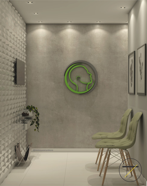 Taís Duque Arquitetura Modern Study Room and Home Office Concrete Grey