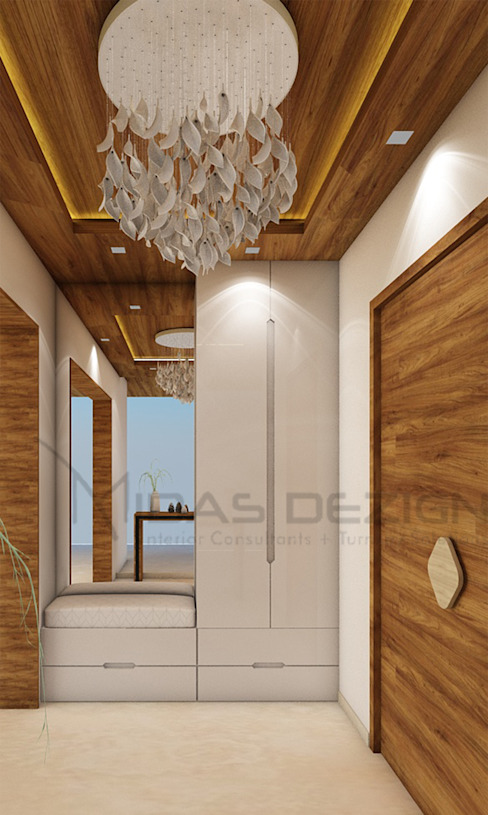 Living room Entrance homify Modern corridor, hallway & stairs