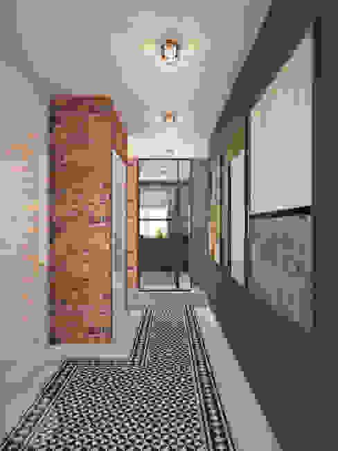 Korytarz Nevi Studio Industrialny korytarz, przedpokój i schody Cegły Niebieski