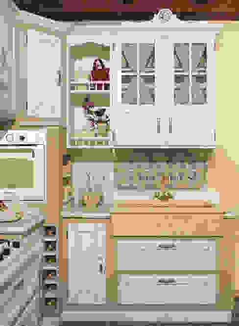 Cucina artigianale in vero legno Mobili a Colori Cucina attrezzata Legno massello Beige