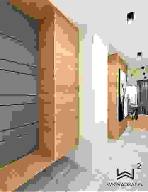 Korytarz Industrialny korytarz, przedpokój i schody od Wkwadrat Architekt Wnętrz Toruń Industrialny Płyta MDF