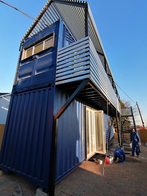 Pamodzi Diepkloof mixed use containers:  Houses by A4AC Architects, Industrial