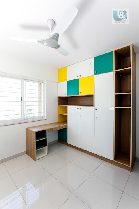 Wardrobe with a Study Table Modern style bedroom by U and I Designs Modern